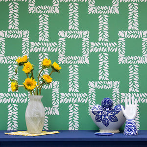 Designer Wallpaper Look using Leaf Stencils and Wall Stencils - Royal Design Studio