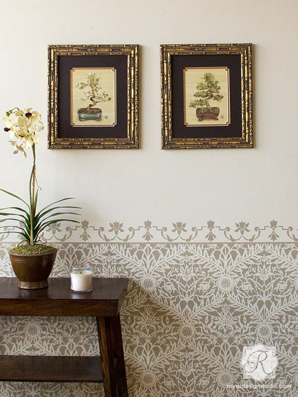 Neutral Painted Patterns with Exotic Moroccan Wall Stencils - Royal Design Studio