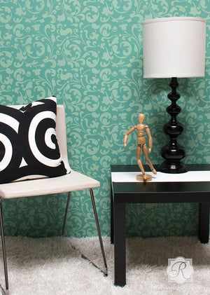 Painting Accents Walls with Moroccan Allover Swirl Wall Stencils - Royal Design Stuido