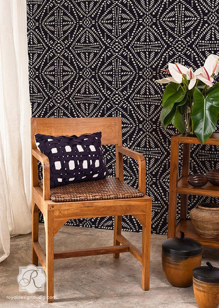 african tribal batik allover wall stencil royal design studio stencils. Black Bedroom Furniture Sets. Home Design Ideas