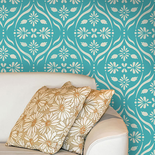 Bold and Colorful Home Decor Ideas using Modern Flower Stencils and Wall Stencils - Royal Design Studio