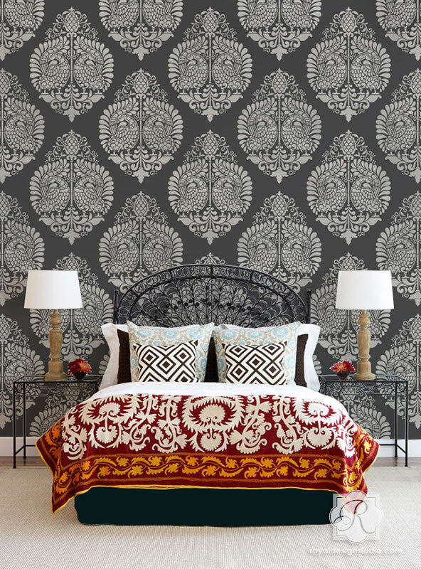 Annapakshi Bird Indian Damask Stencil by Royal Design Studio Stencils