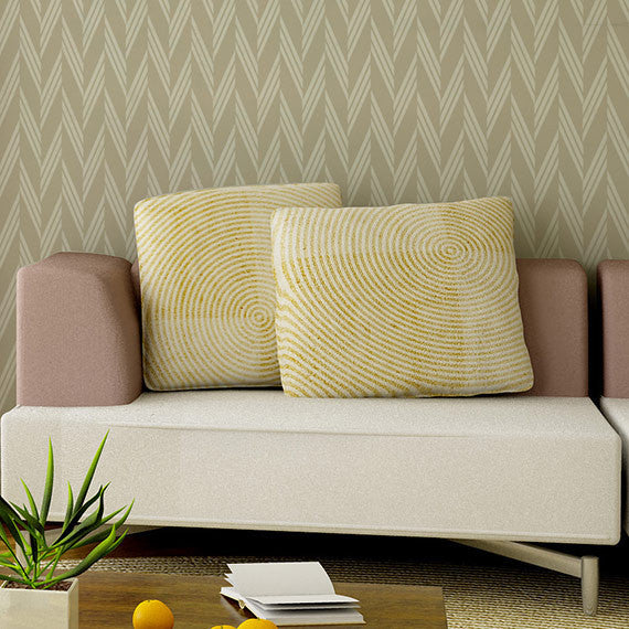 Stenciling walls with modern herringbone patterns - Braided Herringbone Wall Stencils - Royal Design Studio
