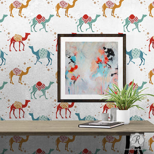 Colorful Camels Moroccan Animal Wall Stencils for Nursery Decor - Royal Design Studio
