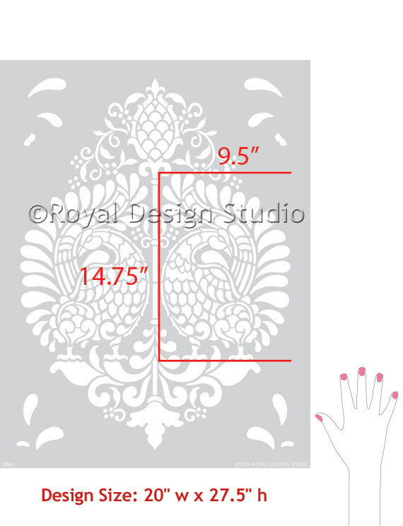Stenciling Indian Designs on Walls with Indian Annapakshi Bird Damask Wall Stencil by Royal Design Studio Stencils