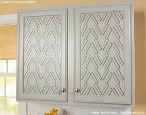 Faux Raised Stencil Pattern on Wood Cabinet Doors - Modern Arrow Stencils
