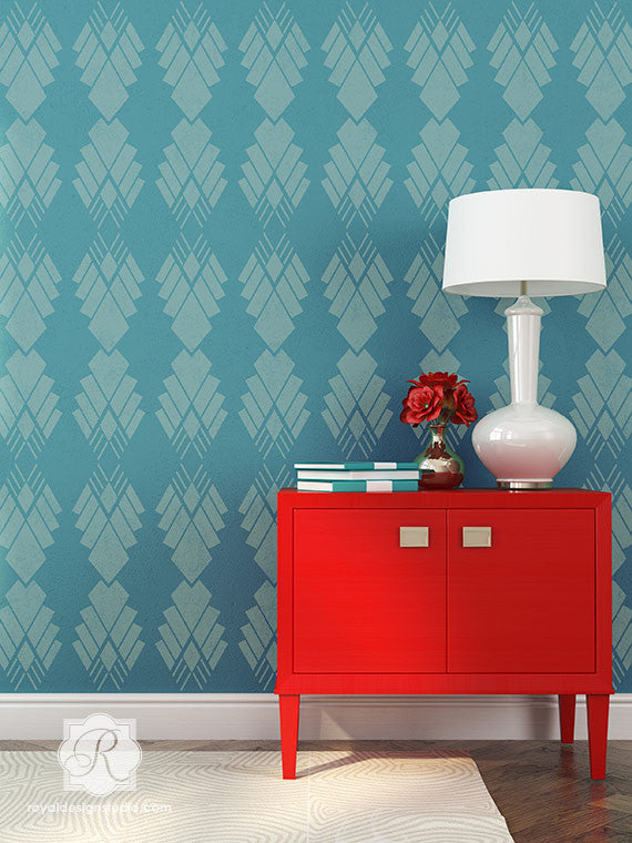 Room Makeover by Painting Walls - Art Deco Diamond Allover Stencil for Walls. Raven + Lily Stencils | Royal Design Studio