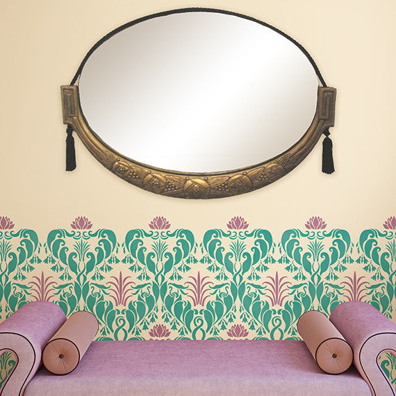 Art Nouveau Damask Allover Wall Stencil by Royal Design Studio