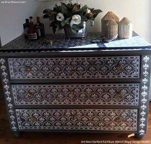 DIY Painted Furniture Stencils for Decorating - Flower Scallop African Design Stencils - Royal Design Studio