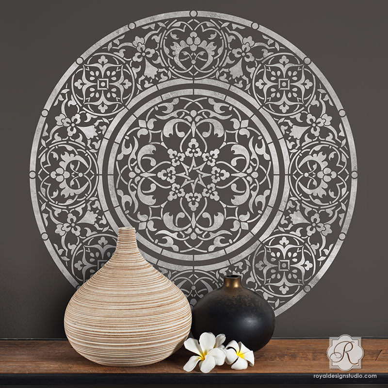 Large Medallion Wall Mural Mandala Wall Stencils - Royal Design Studio