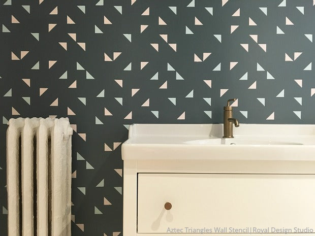 Aztec Triangles Raven + Lily Wall Stencil