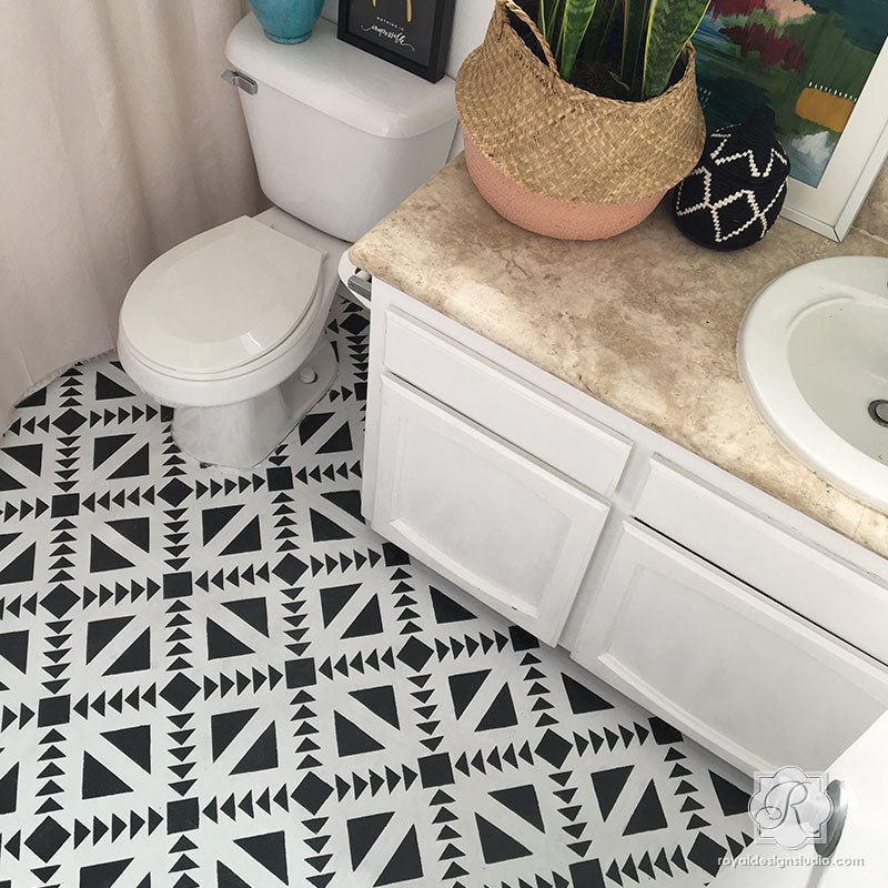 Painted Floor bathroom modern DIY with Concrete Quilt Tile Stencils - Royal Design Studio