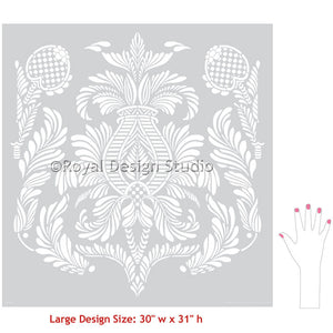 Designing a Wallpaper Look with DIY Wall Stencils and Damask Patterns - Isle of Palms Damask Wall Stencils - Royal Design Studio