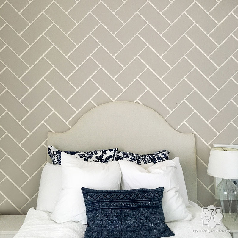 Herringbone Brick Wall Stencil