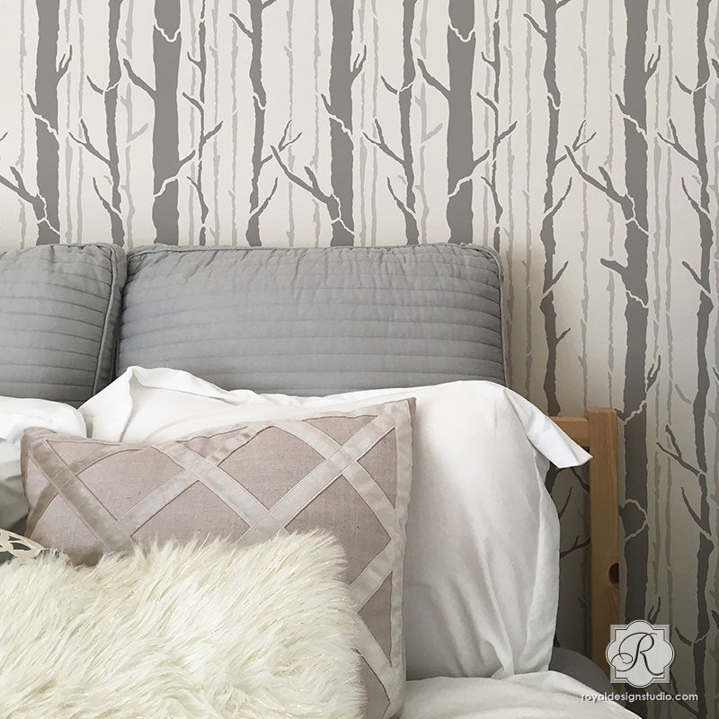 Modern Bedroom Feature Wall Stencils - Tree Wallpaper Look - Royal Design Studio
