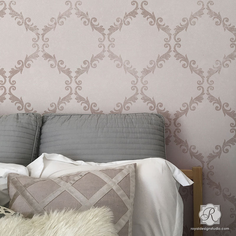 Large Trellis Wall Stencil   Acanthus Damask Wall Stencil for DIY ...