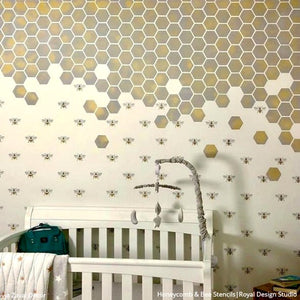 Honeycomb Hexagon Tiles Wall Stencil