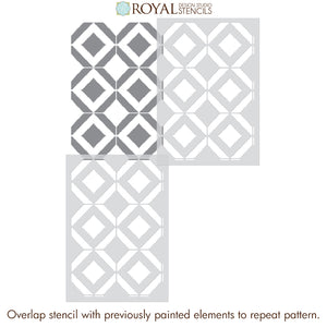 Modern Bohemian Wallpaper - Decorative Wall Pattern for Renters - Birds Eye Ikat Pattern Tile Stencils - Royal Design Studio Stencils