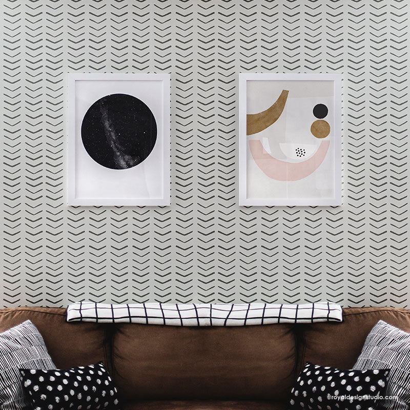 Black and White Modern Wall Mural - Tribal Arrow Wall Stencils - Royal Design Studio