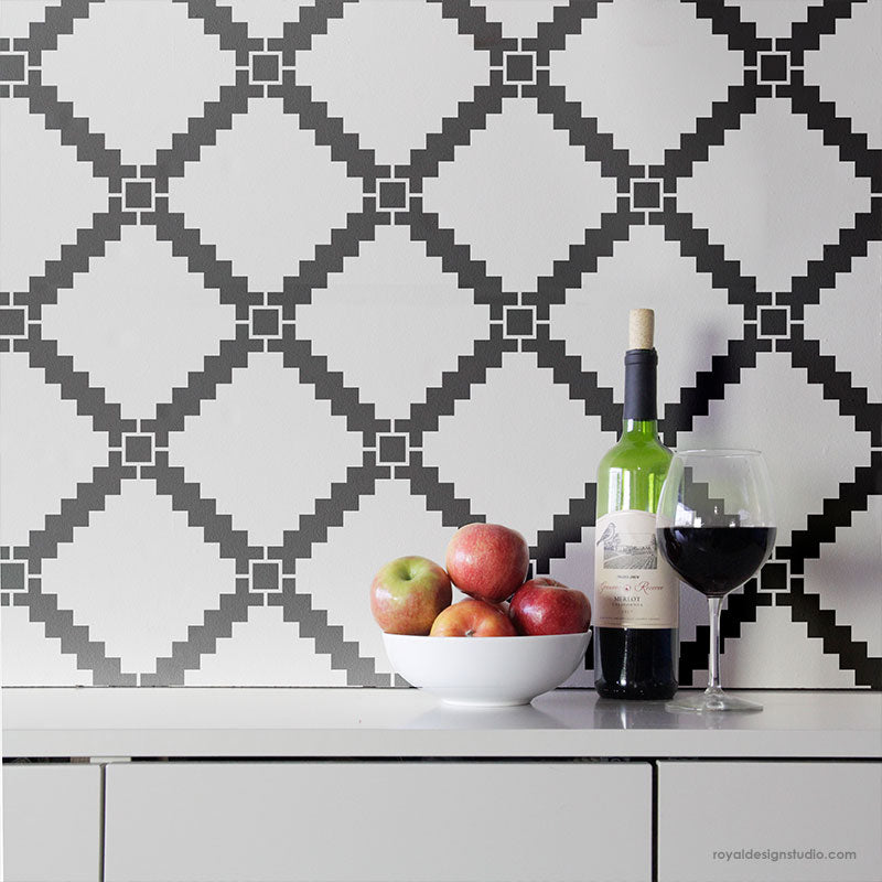 Black and White Tile Walls - Geometric Tiled Wall Stencils - Large Modern Tile Stencils for Painting - Royal Design Studio