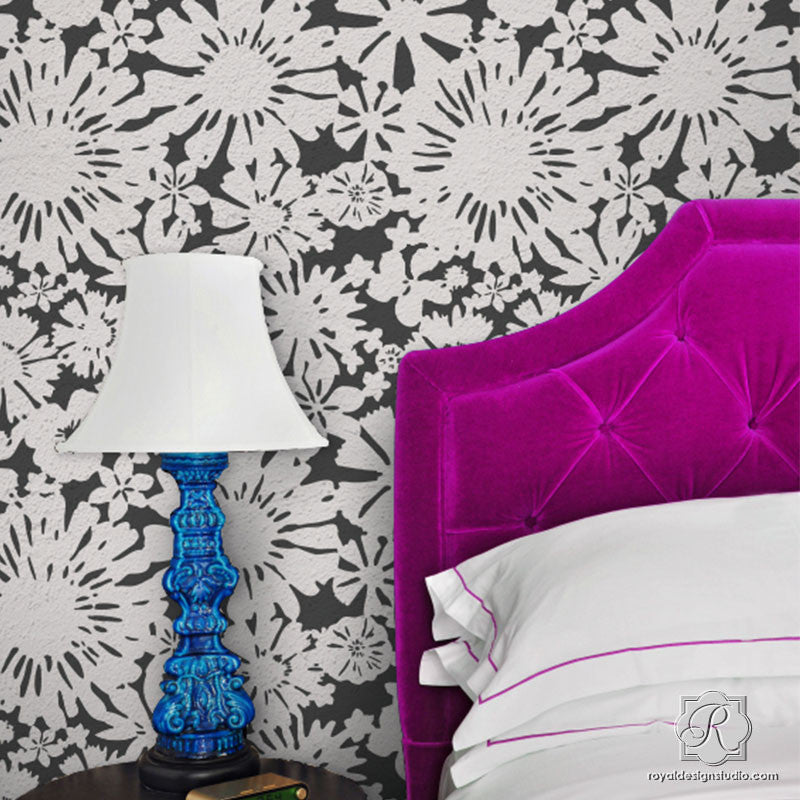 Modern Floral Wall Stencils - Painting Diy Flower Wallpaper