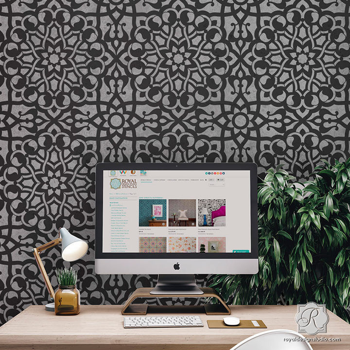 Black and White Wallpaper Idea - Zahara Moroccan Wall Stencils DIY - Royal Design Studio