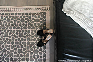 DIY Rug Project Painting with Moroccan Geometric Stencils for Fabric - Royal Design Studio