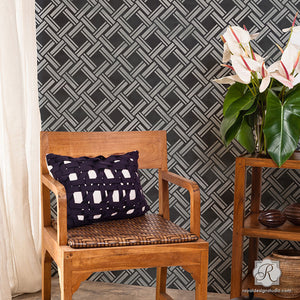 DIY Texture Wallpaper Effect using Large Overlapping Wicker Weave Wall Stencils - Royal Design Studio