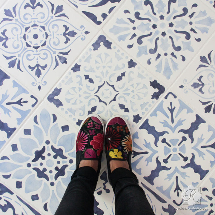 Kitchen Floor Remodel with Painting Vintage Blue Tile Stencils - Royal Design Studio
