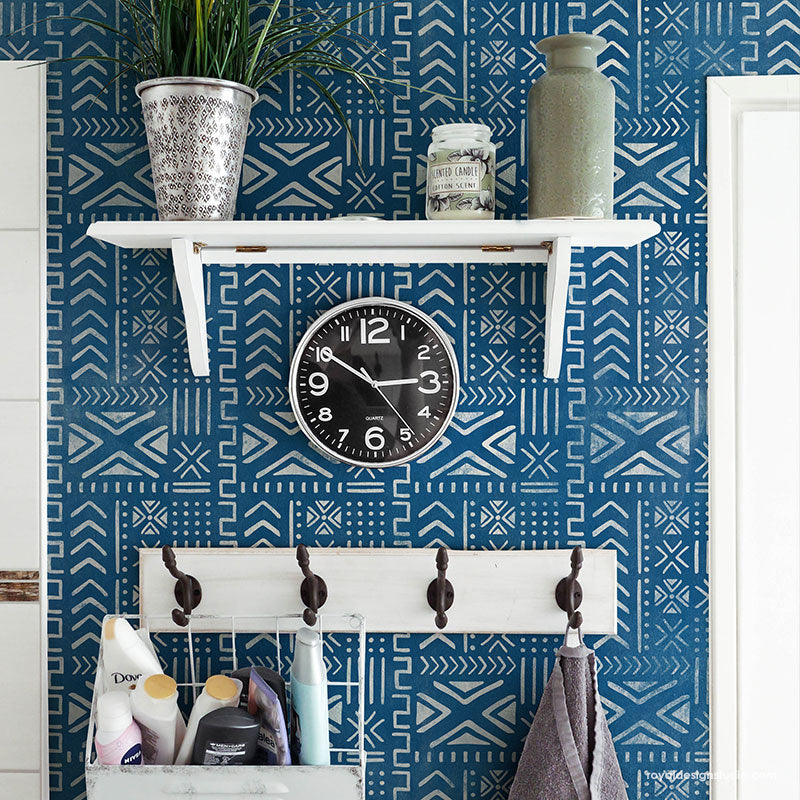 Geometric Wall Decor Idea - Mali Mudcloth Wall Stencil - African Style Mud Cloth Batik Wallpaper Design Stencils for Painting - Royal Design Studio