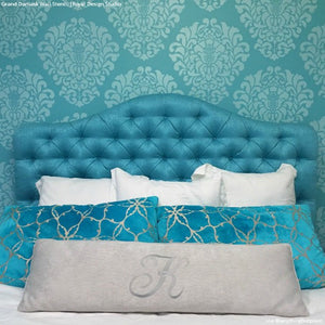 Colorful Blue Bedroom Accent Wall Makeover - Grand Damask Wall Stencils - Royal Design Studio