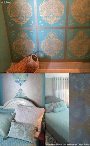 Annapakshi Indian Damask Wall Stencil