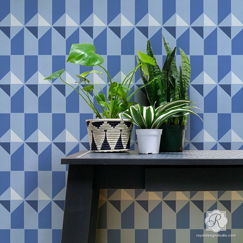 Modern Wallpaper Pattern Tile Shapes - Calypso Tiles Allover Stencils for Painting - Royal Design Studio