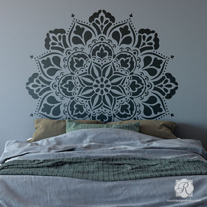 DIY Bedroom Headboard Idea Painting Mandala Stencil Pattern - Royal Design Studio Stencils - G