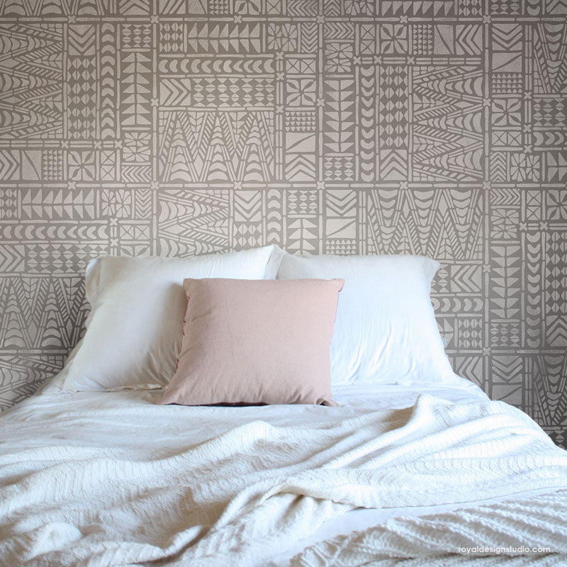 Tribal Wall Mural - African Mud Cloth Wall Pattern - Large Geometric Wall Stencils for Painting - Royal Design Studio Stencils