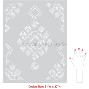 Large Stencils - Damask Lace Wallpaper Wall Design - Bohemian Stencils - Royal Design Studio Wall Stencils