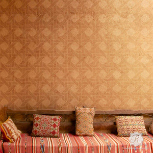 Bohemian Style Room Makeover using Wall Texture Design - Interwoven Basketweave Wall Stencils - Royal Design Studio