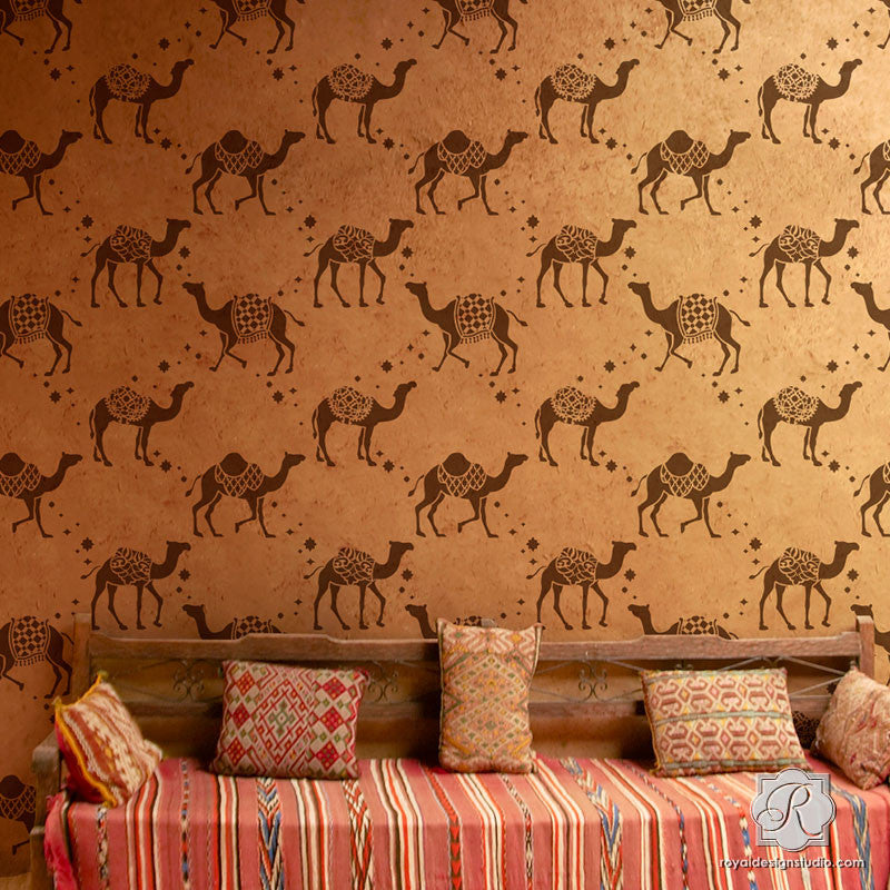 Bohemian Moroccan Decor with Camel Wallpaper Wall Stencils - Royal Design Studio