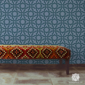 Bohemian Home Decor and Geometric Wallpaper Wall Painting - Woven Star Moroccan Wall Stencils