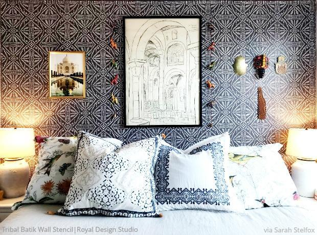 Tribal Batik Allover Wall Stencil