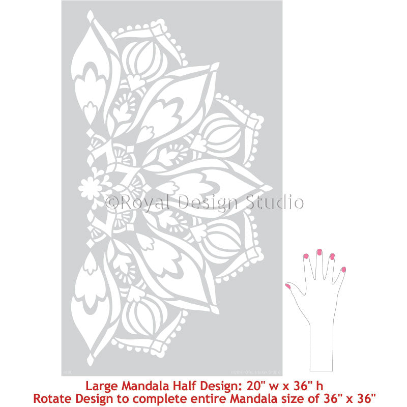 Large Mandala Wall Stickers and Wall Stencils for Decorating Bohemain Style Room Decor - Royal Design Studio Stencils