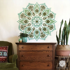 Painting Mandala Designs with Wall Art Stencils for Boho Bedroom Makeover - Royal Design Studio Stencils