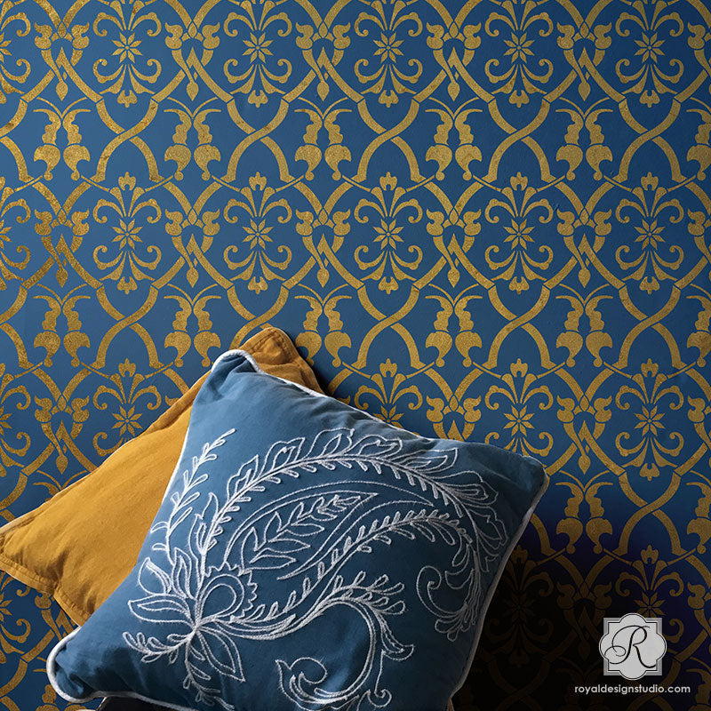 Trellis Wallpaper Pattern Moroccan Turkish Wall Stencils - Royal Design Studio