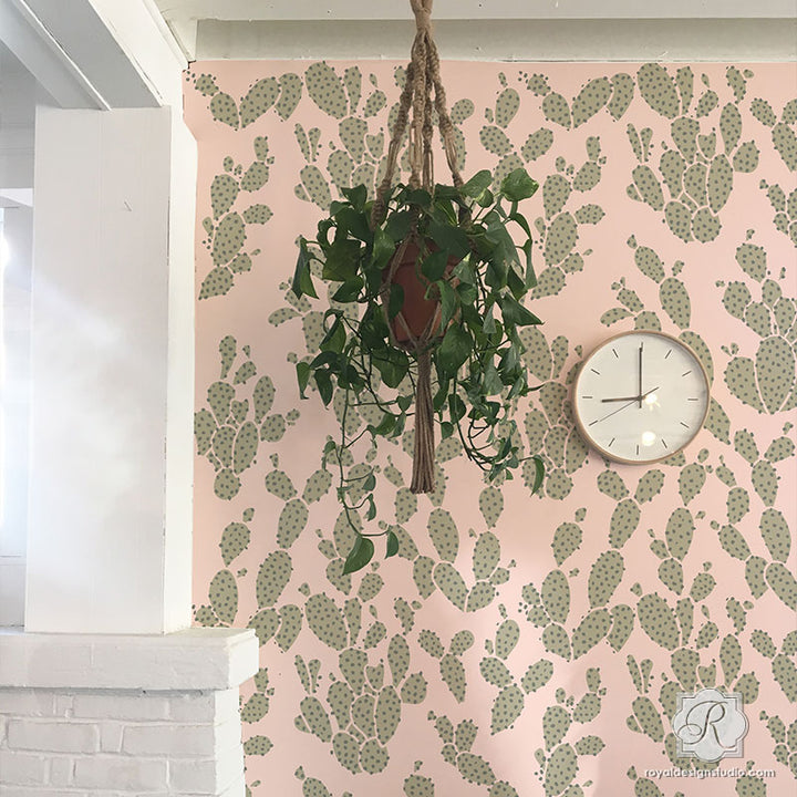 Modern Cactus Wallpaper - Bonnie Christine Designs Wall Stencils - Royal Design Studio
