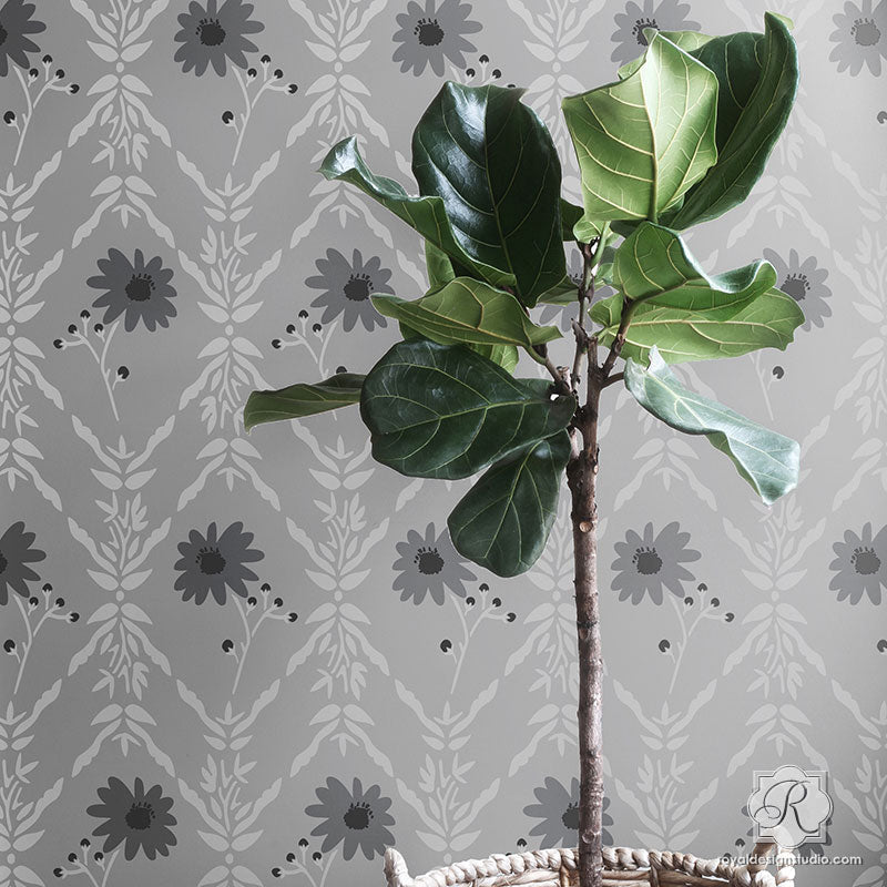 Modern Flower Pattern Painted on Accent Wall - Wall Stencils by Royal Design Studo