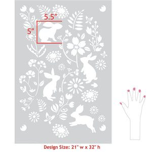 Paint Walls with Large Bunnies and Flowers Wall Stencils - Royal Design Studio