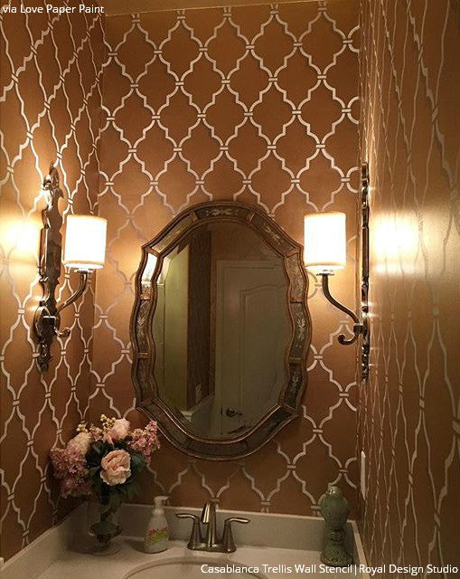 Elegant Wall Finish with Metallic Paint - DIY Painted Walls with Moroccan Design - Royal Design Studio Trellis Wall Stencils