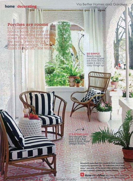 Moroccan and Colorful Stenciled Floor Designs using Floor Stencils - Stenciled Concrete Patio Floor - Royal Design Studio Casbah Trellis Moroccan Stencil
