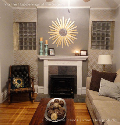 Easy DIY living room makeover using wall stencils - Decorate your home decor with stenciled walls with moroccan stencil patterns - Casbah Trellis Moroccan Wall Stencils - Royal Design Studio