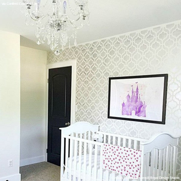 Modern Baby Girl Nursery Decor and Painted Stenciled Walls - Royal Design Studio